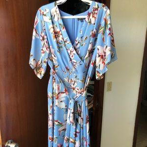Tahari faux wrap high low dress